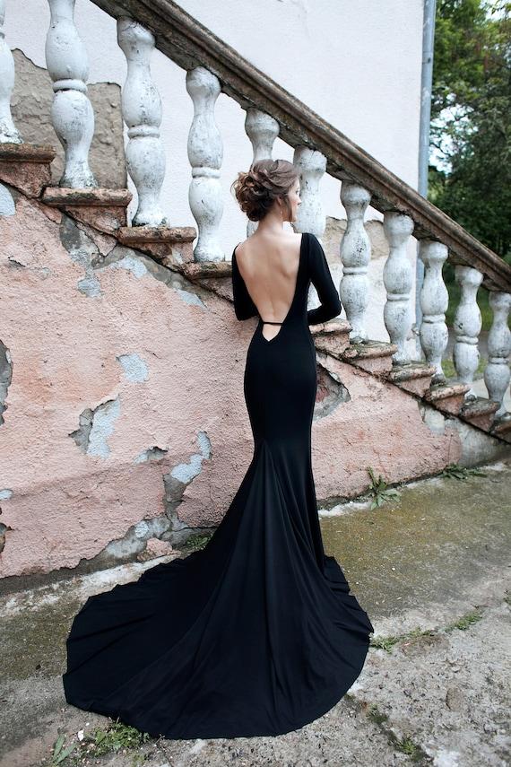Simple Black Wedding Dress