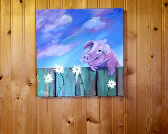 Pig over a fence w/flowers fun, light hearted! Acrylic, original painting. 12x12