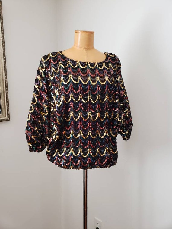 70s disco sequin top