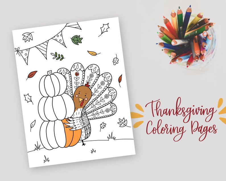 Thanksgiving Coloring Pages  Set of 3  Printable Coloring