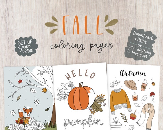 FALL COLORING PAGES  hand drawn printable digital coloring