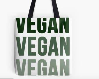 Triple VEGAN Green Print Tote Bag