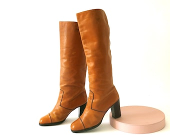 70s tan leather boots, US size 6 - EU 36-37 - UK 4, knee high, Bally, high heeled, tall pirate boots, foxy lady style