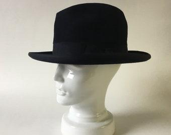 ccc4988c127 Homburg hat - french vintage - dark blue hair felt - L - godfather hat - gangster  hat - curved brim - 40s hat - fedora - formal hat - S0009