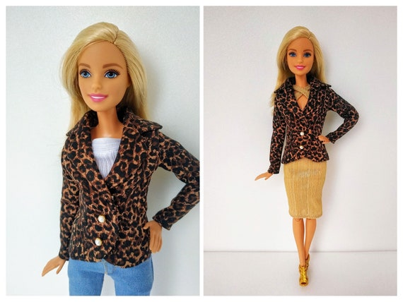 sale online buying cheap new high Barbie clothes - doll clothes - Barbie doll clothes - Brown thick cotton  jacket with leopard print for Barbie doll (M2M, Fashionista)