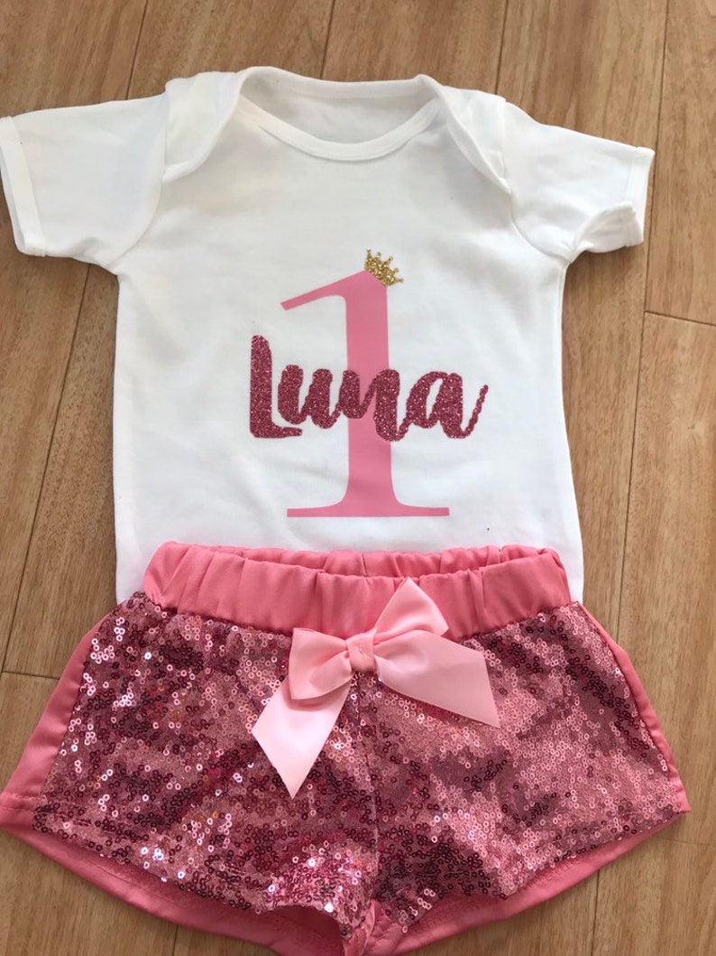 Baby girls pink i am 1 sparkly glitter pants cake smash photo shoot  birthday outfit clothes one 1st set personalised custom made to order