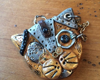 Steampunk cat, Polymer clay, Pendant, Gears, Cat pendant, Gift for her,
