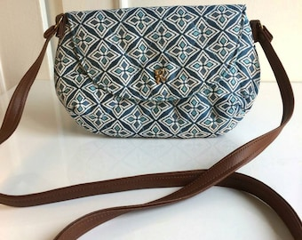shoulder bag, fabric thick canvas, turquoise blue