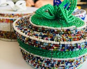 African Beaded baskets for home decor, Afrocentric Masai beaded baskets with cover, African Jewellery basket