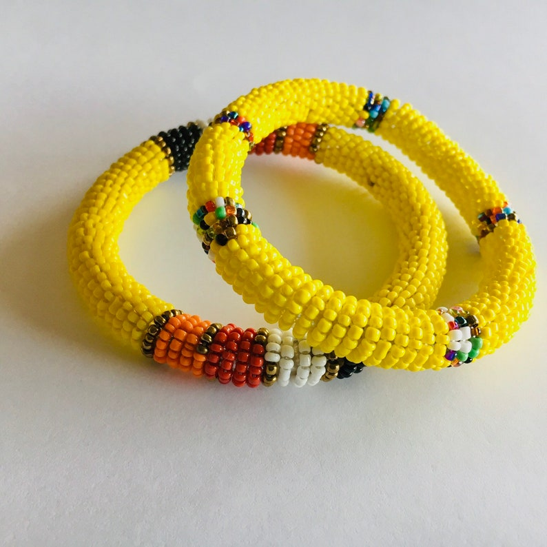 Yellow Masai beaded bangles Rasta colours beaded bangles