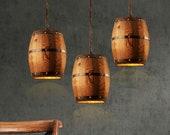 customizable Wooden wine cask chandelier, design whiskey keg pendant lamp lighting fixture, medieval vintage style lamp, farm house decor