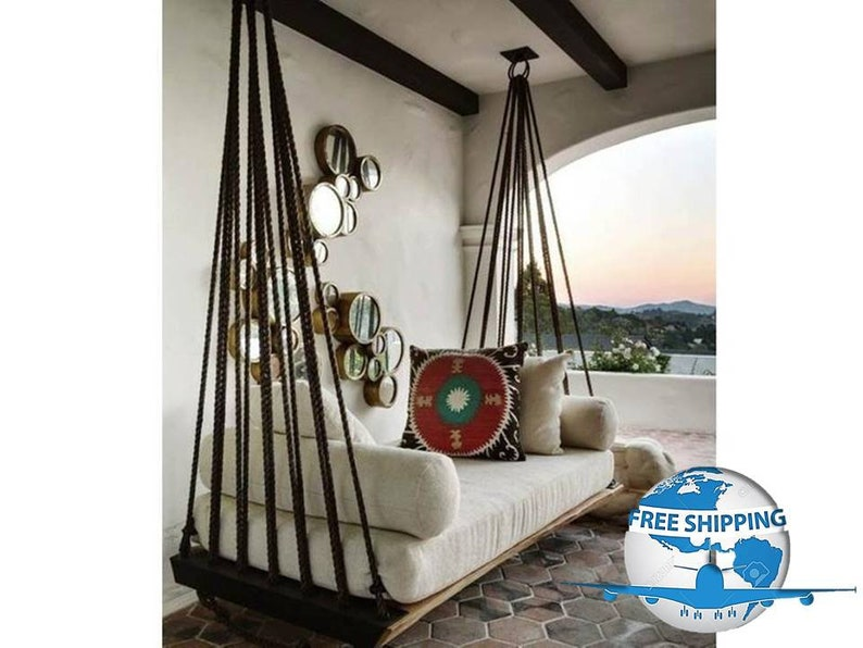 Terrace Rope Hanging Swingceiling Hanging Bed Patio Garden Etsy