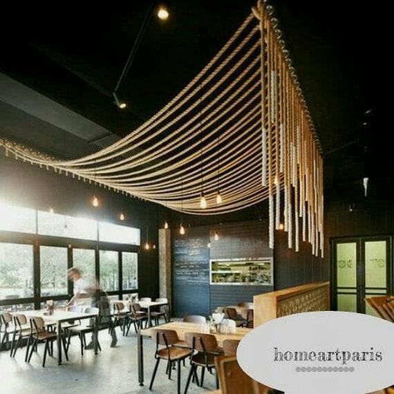 rope light, Rustic Design rope pendant lighting fixture, vintage dining  room lamp, rustic decor customizable farm house porch lighting
