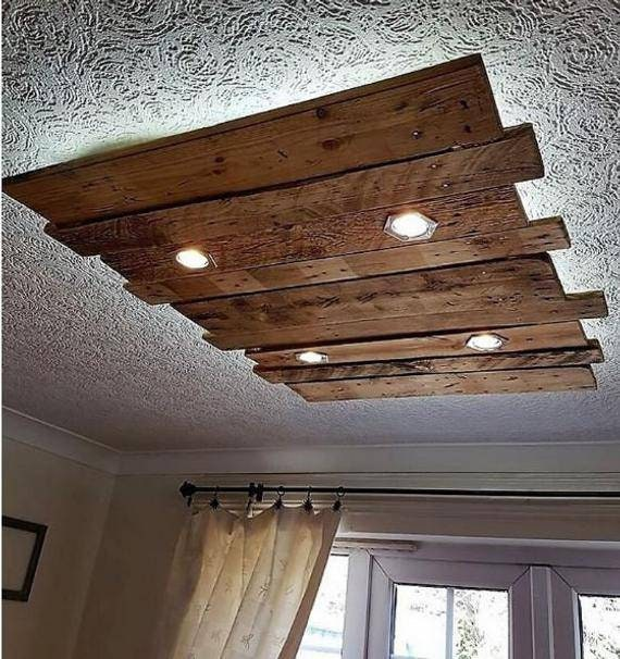 Rustic Wooden Chandelier Led Pendant Lamp Kitchen Island Etsy