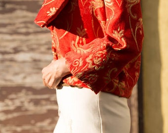 Red-Print Cropped Jacket