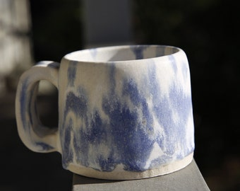 Blue and white handmade ceramic matt glaze mug