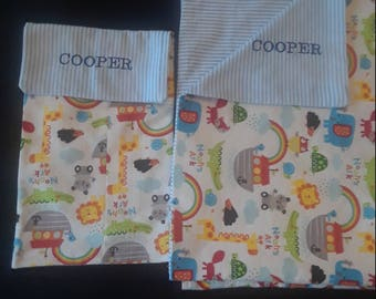 Receiving blanket with matching burp cloth - personalized