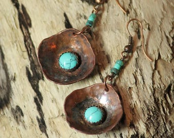 TURQUOISE & COPPER EARRINGS ~Hand Forged ~Hand Crafted ~Dangle Earrings ~Boho ~ Bohemian ~December Birthstone ~Gift for Her ~Hammered ~Gypsy