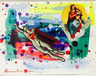 Dimitri Spijk - Superman and the Madonna - acrylic and collage