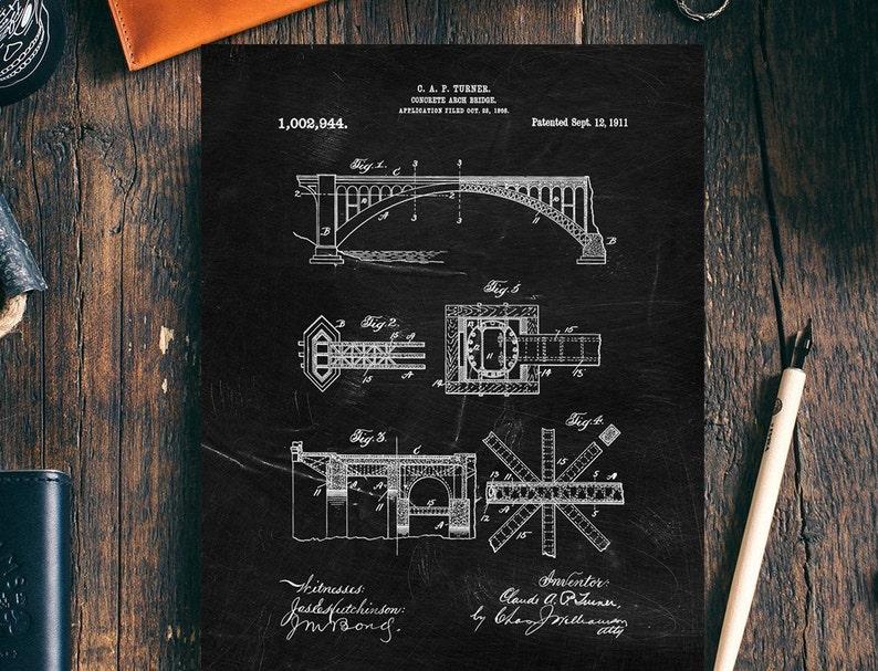 Concrete Bridge Patent Print,1911,Civil Engineer Print, Engineer  Gift,Stuctural Engineer Print, Architecture Poster,DIGITAL DOWNLOAD