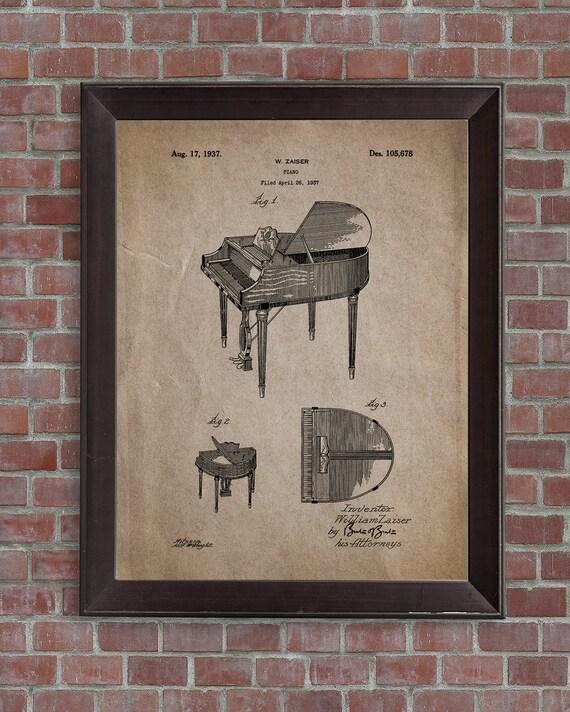 Grand Piano Patent Print1937 Music Wall Decor Music Room | Etsy