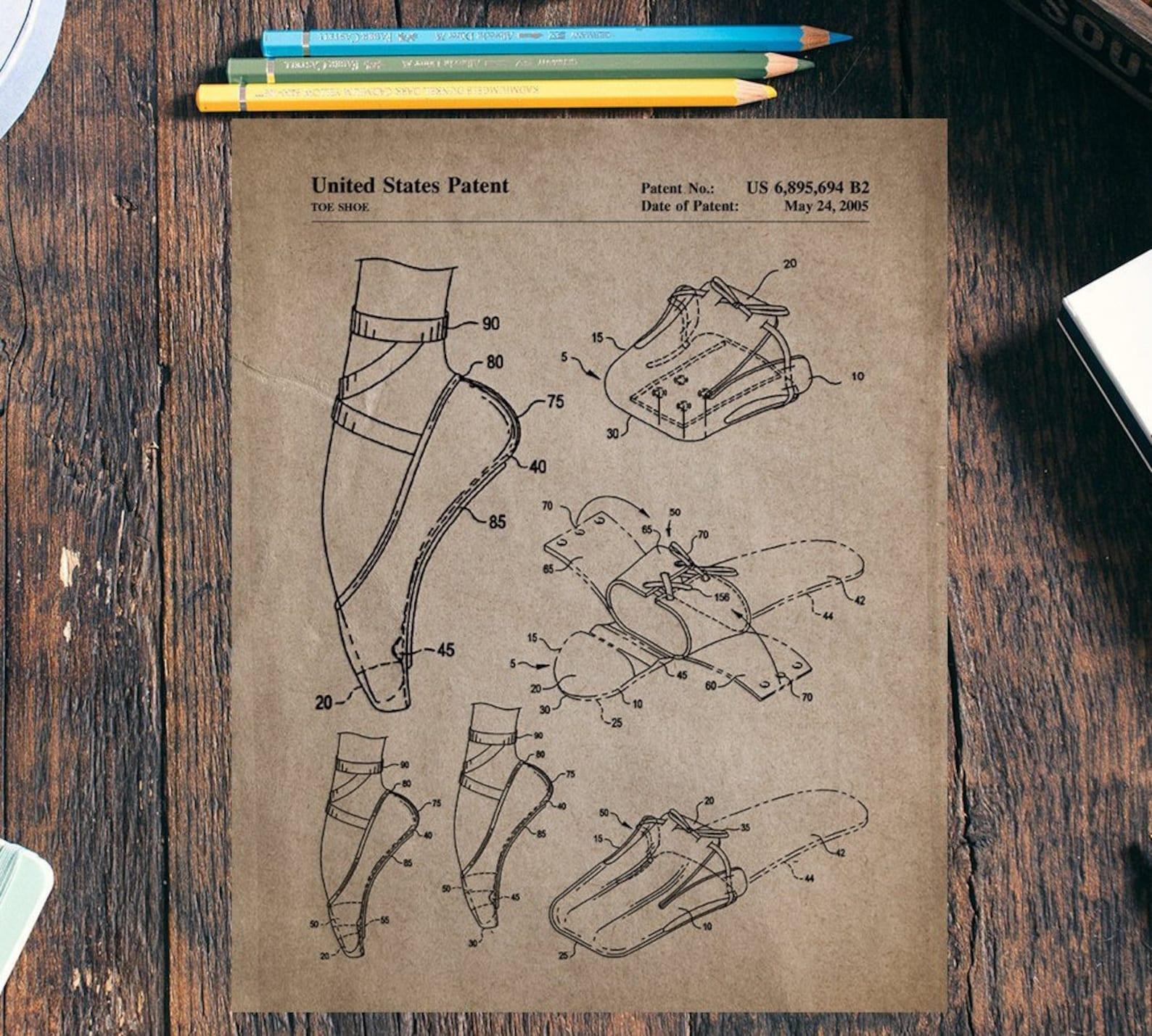 ballet shoe patent print set of 2,vintage ballet poster, ballet wall print, ballet slipper poster,digital download