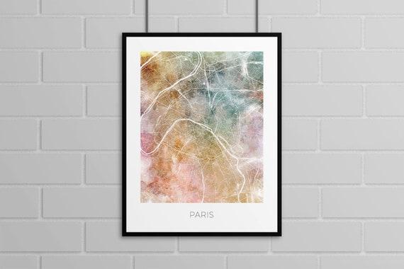 Paris Map Print Watercolor Background City Map Artwork Etsy
