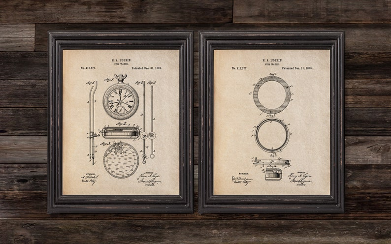 Stopwatch Patent Print Set of 2, 1889,Vintage Watch art, Vintage patent  print,DIGITAL DOWNLOAD