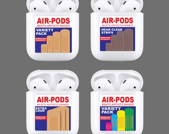 18a78bdef45 Apple AirPod Case Decal, Air Pod, Sticker, Skin, Wrap, Cover, Band Aid  Bandages