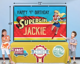 Personalized Custom Name Birthday Vinyl Banner Supergirl Super Girl