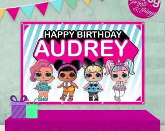 Personalized Custom Name Birthday Vinyl Banner LOL Surprise Ball Dolls