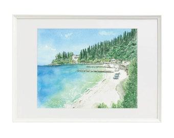 Watercolour print of Agni Bay, Corfu, Greece by Poppy on Paxos