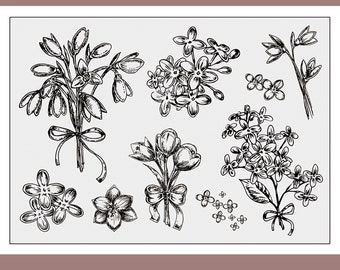 Flower Bullet Journal Botanicals Wooden Stamp 12PCS of Set Plant Stamp Greenery Wood Stamp Planner Leaves Rubber Stamp Leaf Nature