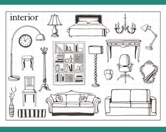 Clear Stamp Set Stamps Home Furniture Sofa Themed S9