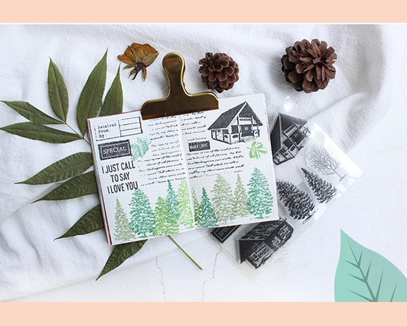 clear Stamp Set  Clear Stamps  cabin forest vacation themed  transparent stamps s13 sale09