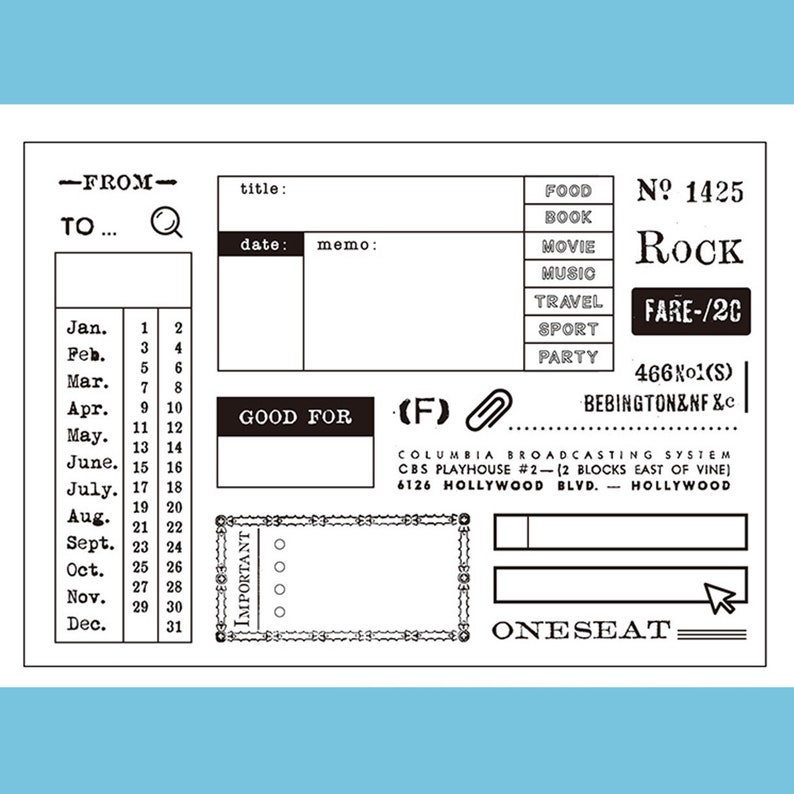 clear Stamp Set  Clear Stamps  bill receipt date vintage note card marking theme m04 s21