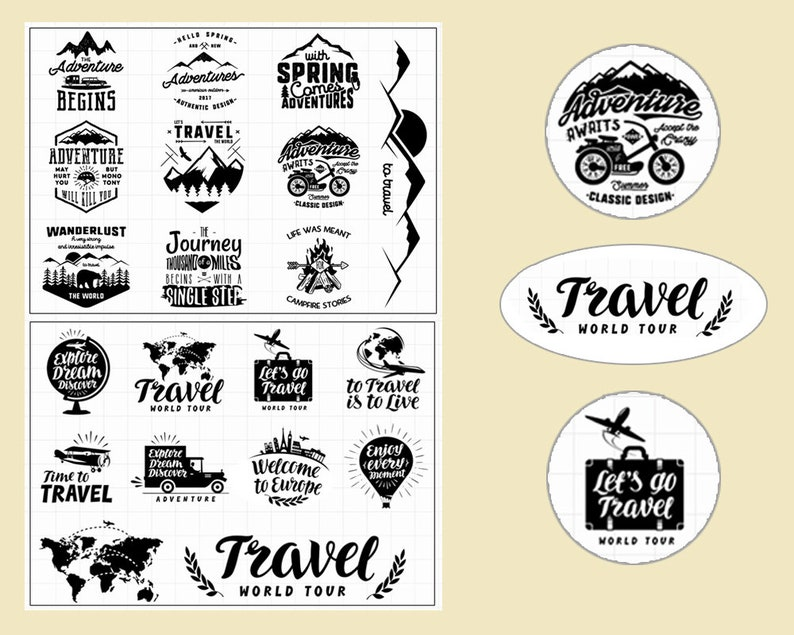 clear Stamp Set  Clear Stamps  travel themed clear stamps  camping outing s6