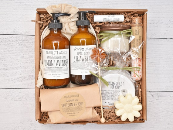 Women's Self Care Box, Thinking Of You Gift, Holistic Spa Gift Basket, Thank You Gift Box, Organic Spa Gift Set, Gift Baskets For Women