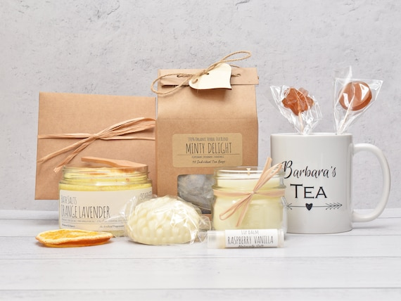 Mom Birthday Gift Box, Gift Baskets For Women, Tea And Bath Gift Set, Tea Lover Gift Box, Birthday Gift Basket, Tea & Candle Gift Set