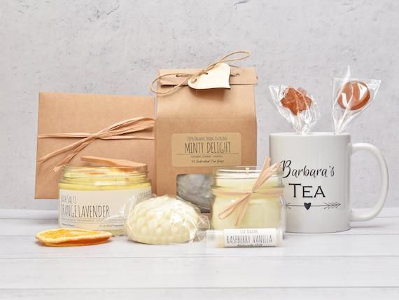 Mothers Day Gift Box, Tea And Bath Gift Set, Tea Lover Gift Box, Birthday Gift Basket, Mom Birthday Gift Box, Tea & Candle Gift Set