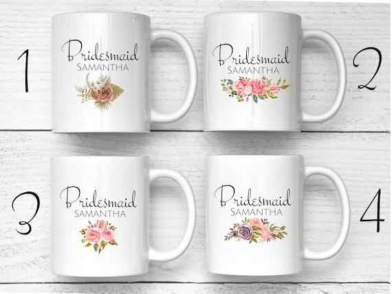 Bridesmaid Mugs, Custom Flower Mug, Personalized Mug, Bridesmaid Proposal Gift, Bridesmaid Tea Party, Bridesmaid Thank You