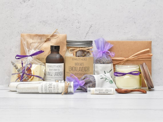 Mothers Day Spa Gift Box, Gift Baskets For Women, Gift Box For Women, Lavender Spa Gift Basket, Mom Birthday Gift Box, Organic Spa Gift Box