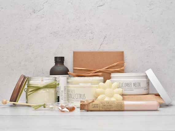Care Package For Mom, Organic Spa Gift Box, Large Spa Gift Set, Spa Gift Basket, Gift Baskets For Women, Pamper Her Gift Box, Bath Gift Set