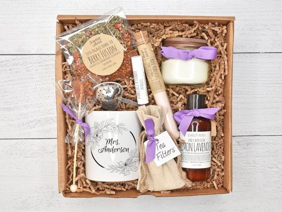 Teacher Appreciation Gift, Teacher Gift Box, Teacher Gift Basket, Teacher Gifts, Custom Teacher Mug, Tea & Candle Gift Set