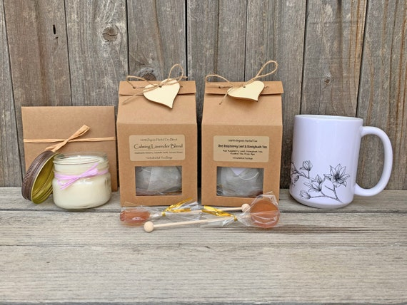 Tea & Mug Gift Set, Tea And Candle Gift, Mom Birthday Gift, Herbal tea Gifts, Cancer Care Package, Tea Gift Basket, Gift Baskets For Women