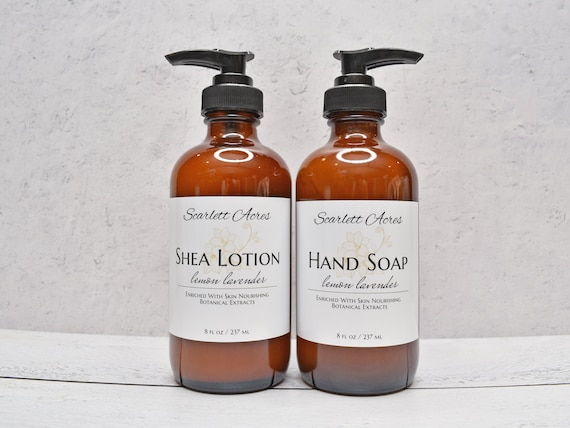 Organic Lotion & Soap Set, Glass Bottle Soap And Lotion, Coconut Milk Lotion And Hand Soap Set, Natural Hand Soap, Natural Lotion