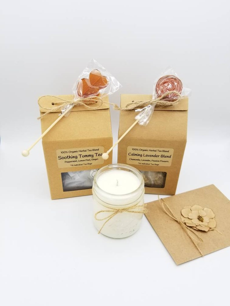 Tea Gifts Birthday Gift Basket And Candle Set