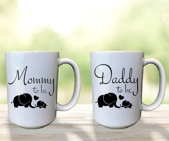 Daddy To Be Mug, Mommy To Be Mug, Custom Pregnancy Mug, Baby Elephant Mug, Expecting Mom Gift, First Time Mom Gift, New Mom & Dad Mug