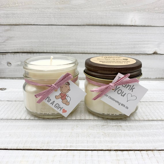 5 Soy Candle Favors, Baby Shower Favors, Rustic Party Favors, It's A Girl Gift, Baby Shower Prizes, Chic Wedding Favors, Personalized Favors