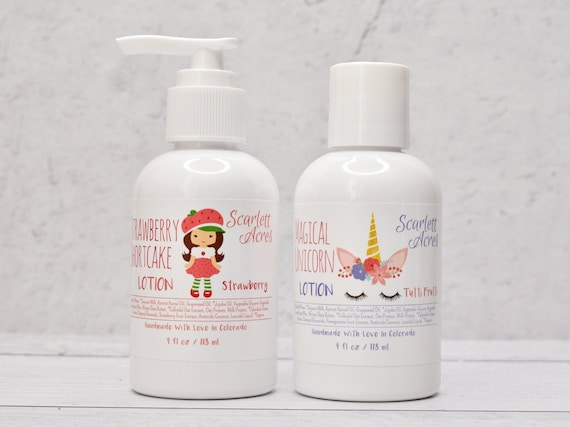 Kids Strawberry Lotion, Unicorn Lotion, Kids Organic Lotion, Little Girls Lotion, Childrens Lotion, Natural Baby Lotion, Coconut Milk Lotion
